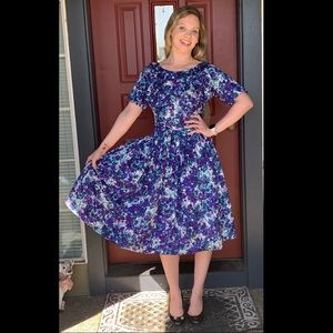 1950's Floral Purple Fit and Flare Dress